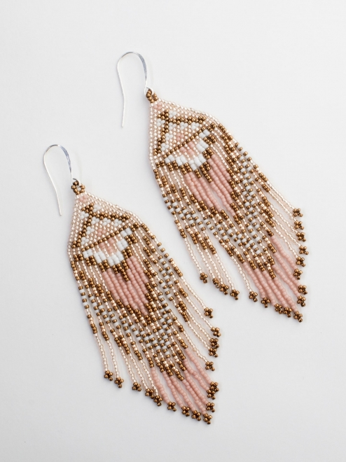 Ojo de Dios Handmade Beaded Earrings | Rosaline + Bronze