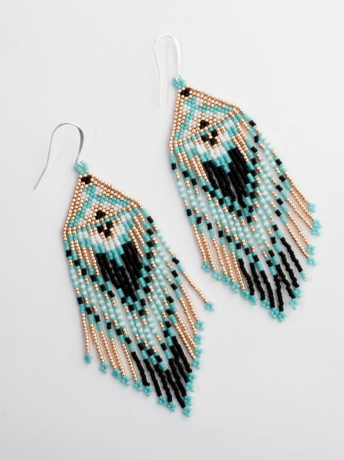 zapotec diamond earrings in turquoise and rose gold